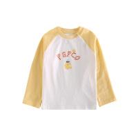 小猪班纳童装男女童长袖T恤2021春季新款宝宝圆领撞色休闲上衣棉