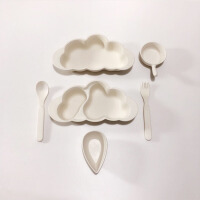【优选】kerr卡通云朵竹纤维宝宝餐具套装辅食叉勺碗可爱儿童分格餐盘