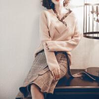 女神范套装裙冬赫本风套装名媛洋气冬裙女晚秋毛衣搭配裙两件套 卡其色 X
