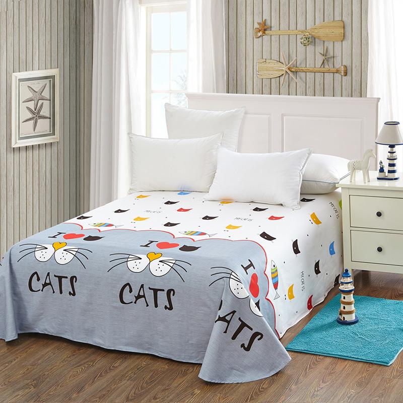 当当优品 纯棉斜纹床上用品 床单250*230cm 猫咪派对(灰)当当自营 100%纯棉 不易褪色 0甲醛 透气防潮 大尺寸