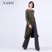 Amii[极简主义]冬女大码拼接羊毛修身中长款毛呢外套11591030