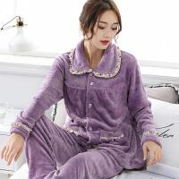 冬季睡衣女款法兰绒加厚保暖套装紫罗兰色印花女人家居服