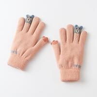 绒毛线手套女冬可爱韩版卡通学生触屏棉手套女冬加厚 保暖