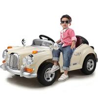儿童电动车童车四轮双驱遥控可坐电动汽车老爷车宝宝玩具车zf10 米白色【高配】2.4G双电双驱+缓启动+全新中控+
