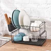 碗碟架沥水架双层厨房用品碗盘餐具置物架家用放碗筷收纳盒沥碗架