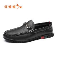 【红蜻蜓抢购,抢完为止】红蜻蜓男鞋春季新款软底舒适休闲皮鞋时尚金属装饰驾车鞋