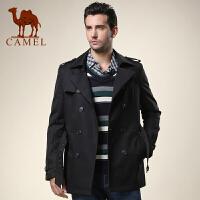 CAMEL 骆驼男装 新款男士双排扣休闲风衣 修身翻领外套