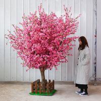 【好货】仿真桃花树大型室内装饰假桃树落地花客厅商场实木树干小许愿树b31
