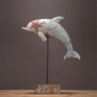 北欧地中海创意海马海螺海豚海鸥摆件家居书房客厅办公室装饰摆设创意装饰摆件 海豚海鸥摆件