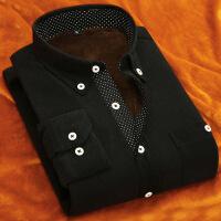 春秋装复古灯芯绒长袖衬衫男士修身商务休闲纯色衬衣青年男装