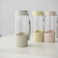 韩版清新文艺玻璃杯创意潮水瓶简约男女学生便携家用水杯子