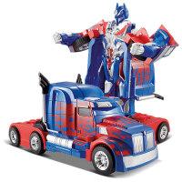 佳奇一键变形遥控汽车充电动男孩儿童玩具车超大擎天声控机器柱
