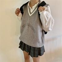 小树家 学院刺绣字母领毛线针织马甲背心女韩国新款 1032 均码