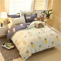 加厚磨毛床单学生宿舍三件套单人纯棉被套被罩1.5/1.8米床上用品定制 乳白色 2.2床四件套送2只枕芯