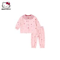 hellokitty童装女童家居服2021春季新款套装婴儿宝宝洋气纯棉睡衣