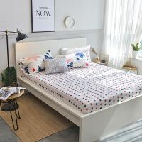 天竺棉床笠单件针织全棉床单床罩纯棉被单床罩棕垫席梦思保护套 白色 星星