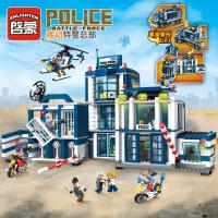 启蒙1918积木新款警察系列飞机军事儿童益智拼装玩具移动警察总部