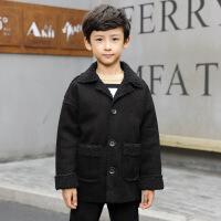 冬季中大童男童上衣外套MG3--13岁纯色麂皮绒外套