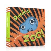 顺丰发货 (99元5件)Peek-a-Zoo宝宝的躲猫猫游戏书:猜猜动物园 纸板书 互动的乐趣,隐藏在下页之中的秘密,