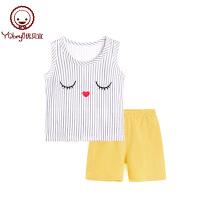 儿童休闲无袖两件套 宝宝夏装衣服 女童夏季薄款背心套装