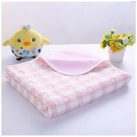 纱布隔尿垫 纯棉透气可洗大号双面定制 卡通格子粉 六层纱布+竹纤维