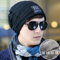 男士韩版冬天加绒保暖套头棉帽加厚包头帽 毛线帽子 户外抓绒针织帽
