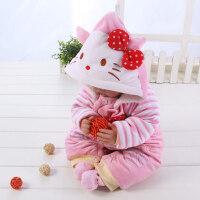 婴儿连体衣宝宝连体衣冬女0一1岁 婴儿加厚冬装KT猫冬季粉色蝴蝶结满月冬款XM-7 KT猫