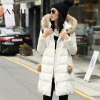 【满200减100 上不封顶】AMII[极简主义]冬装新款连帽貉子毛领中长加厚90绒羽绒服女装