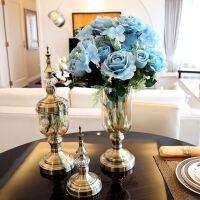 家居客厅装饰品玻璃花瓶花器摆件仿真花美式欧式花瓶样板房间摆设