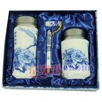 青花瓷陶瓷4件套 茶杯+茶叶罐+U盘+笔 花开富贵 商务会议礼品