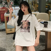 三木子快时尚女装~韩版宽松人物字母印花短袖T恤
