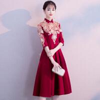 敬酒服新娘2018新款秋冬季红色旗袍结婚回门晚礼服连衣裙女中长款 酒红色中长款 X