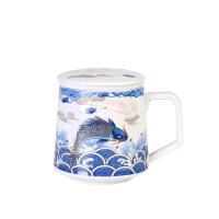 青花瓷泡茶杯 陶瓷喝茶杯带盖过滤茶水分离杯 办公室杯子花茶滤茶杯 醉美龙鱼 办公杯