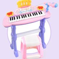 儿童钢琴带麦克风1-3-6岁音乐电子琴玩具儿童可弹奏 公主红 有椅