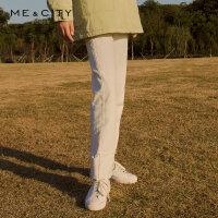 【1件5折价:199.5,可叠券】MECITY女装冬季时尚潮流女翻边长裤直筒宽松牛仔裤女