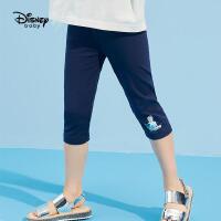 【抢购价:27元】迪士尼童装女童七分打底裤儿童针织中裤2021夏装新款洋气卡通裤子