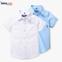 学生中大童棉上衣校服表演服男童白衬衫夏儿童短袖棉白衬衣