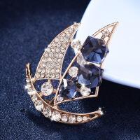 一帆风顺帆船胸针 男女西服西装韩式水晶胸花 潮流衬衫个性领口别针