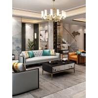 【新品热卖】高端新中式轻奢全实木沙发简约美式真皮沙发大户型客厅家具组合 1+ 组合