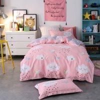 纯全棉卡通三件套单人床上用品大学生宿舍上下铺粉色床单被套女生