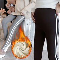 加绒加厚孕妇裤子2018新款外穿小脚裤保暖托腹裤运动打底长裤冬装
