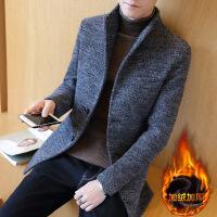 秋冬季加绒风衣男士修身中长款呢子外套韩版帅气大衣新款潮流 N1109加绒款灰色