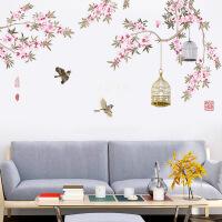 装饰墙贴花鸟贴画餐厅墙面装饰房间墙贴卧室墙纸客厅墙上贴纸自粘壁纸贴花 树枝鸟笼