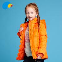 三点水童装冬季上新女中大童糖果色时尚休闲加厚保暖百搭连帽棉服