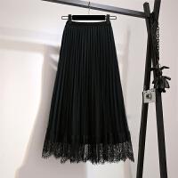 2018秋冬新款大码高腰金丝绒拼接蕾丝两面穿半身裙胖mm显瘦百褶裙 黑色