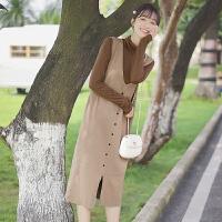 2020新款秋冬长袖高领连衣裙针织打底衫女两件套潮学生长裙