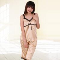 金丰田夏女士可爱休闲仿真丝性感吊带睡裙1526