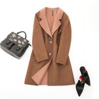 【1件3折到手价:239元】新款高梵长款双面呢大衣时尚休闲修身毛呢外套女反季