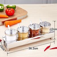 不锈钢调料盒玻璃盐罐套装调味品罐套装厨房佐料盒调料瓶子酱料瓶