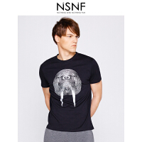NSNF线形海狮图案纯棉圆领黑色T恤男 短袖t恤男装2017新款 修身针织潮牌